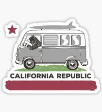 California Republic Bear Surfing Van Sticker