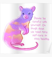 """""""Please Be Careful With Yourself"""" Sunset Rat Poster"""