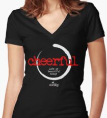 cheerful lettering mood black Women's Fitted V-Neck T-Shirt