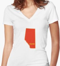 Southern Alberta Area Code 403  Women's Fitted V-Neck T-Shirt