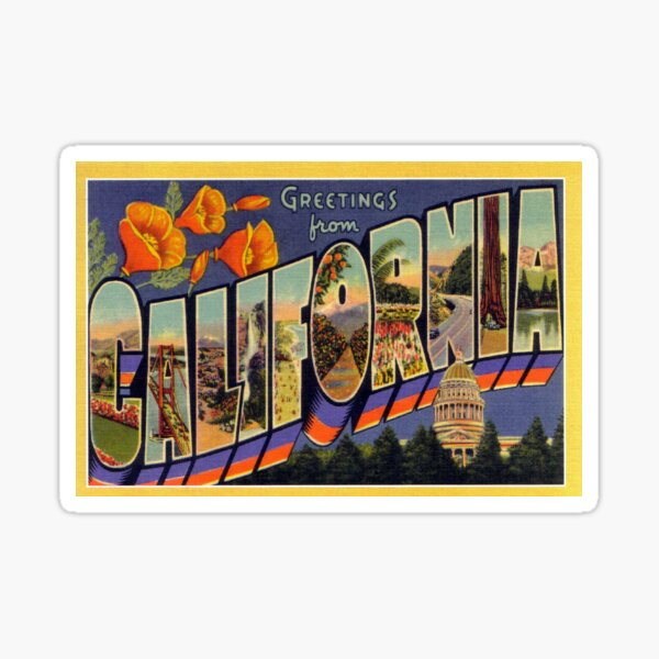 Vintage California Travel Postcard Sticker
