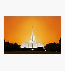 Jordan River Temple Orange Sunset 20x30 Photographic Print