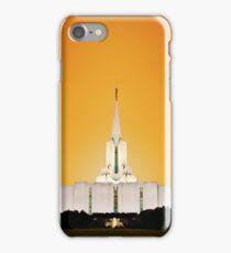 Jordan River Temple Orange Sunset 20x24 iPhone Case/Skin