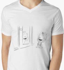 Calvin in the Mirror Mens V-Neck T-Shirt