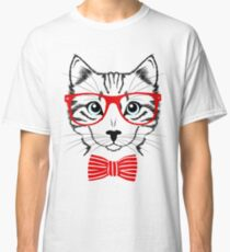 Hipster cat bow tie and glasses Classic T-Shirt