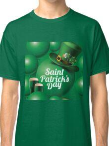 Saint Patrick's Day seamless green balloon, leprechaun hat and green beer pattern Classic T-Shirt