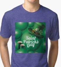 Saint Patrick's Day seamless green balloon, leprechaun hat and green beer pattern Tri-blend T-Shirt
