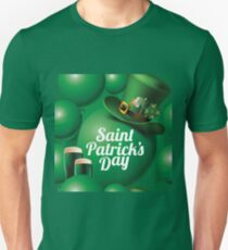 Saint Patrick's Day seamless green balloon, leprechaun hat and green beer pattern T-Shirt