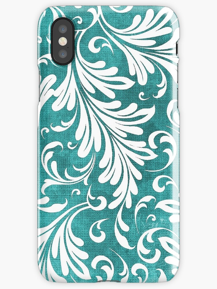 Fancy Acanthus Pattern White on Aqua by Pixelchicken