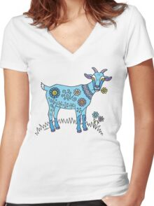 Blue Goat Women's Fitted V-Neck T-Shirt