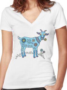 Blue Goat Women's Fitted V-Neck T-Shirt