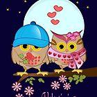 Owls in love under a blue moon II by walstraasart