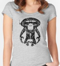Black Space Monkeyz Graphic Women's Fitted Scoop T-Shirt
