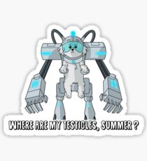 Snowball - Where are my testicles - Rick and Morty Sticker