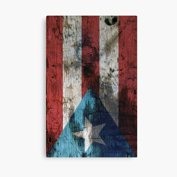 Puerto Rico Flag in Rustic Wood Canvas Print
