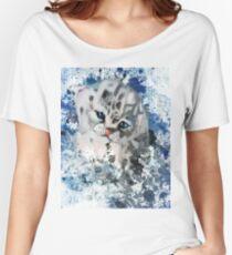 Big Kitten Snow Leopard  Women's Relaxed Fit T-Shirt