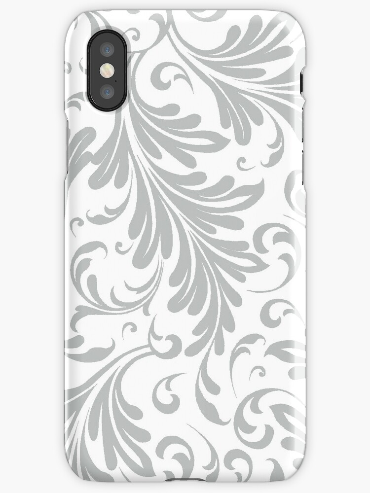 Fancy Acanthus Pattern White on Grey by Pixelchicken