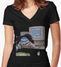 Camiseta entallada de cuello en V Esperando
