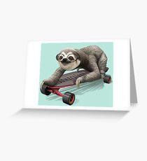 SLOTH ON SKATEBOARD Greeting Card