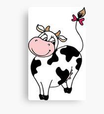 Cute smile cartoon cow Canvas Print