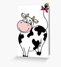 Cute smile cartoon cow Greeting Card