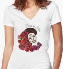 Como la Flor - Selena - Day of the Dead Sugar Skull Women's Fitted V-Neck T-Shirt