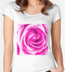 closeup fresh pink rose texture abstract background Women's Fitted Scoop T-Shirt