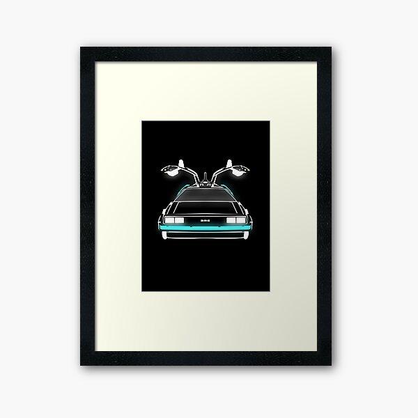 Delorean neon Framed Art Print