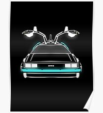Delorean neon Poster