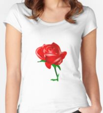 Red rose vector Women's Fitted Scoop T-Shirt