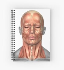 Anatomy of human face and neck muscles, front view. Spiral Notebook