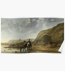 Aelbert Cuyp - River Landscape With Riders, 1657 Poster