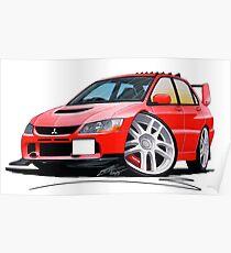 Póster Mitsubishi Evo IX Red