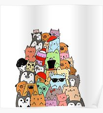 Cute Cats and Dogs Doodle Poster