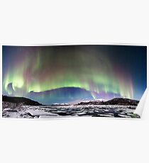 Panorama of the Northern Lights Poster