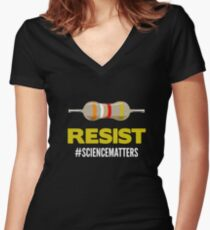 March For Science Resist Science Matters Women's Fitted V-Neck T-Shirt