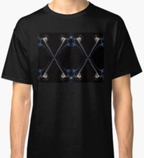 Ecru and blue abstract twisted smoke isolated on black background, formed in circles and lines Classic T-Shirt