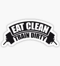 cool design gewicht gewichtheben hantel gewichte trainieren design eat clean train dirty text logo  Sticker