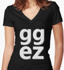 GG EZ Steam PC Gamer Master Race Women's Fitted V-Neck T-Shirt