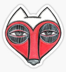 fox face heart Sticker