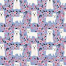 Westie cherry blossoms west highland terrier cutest fluffy white dog breed pattern art by PetFriendly by PetFriendly