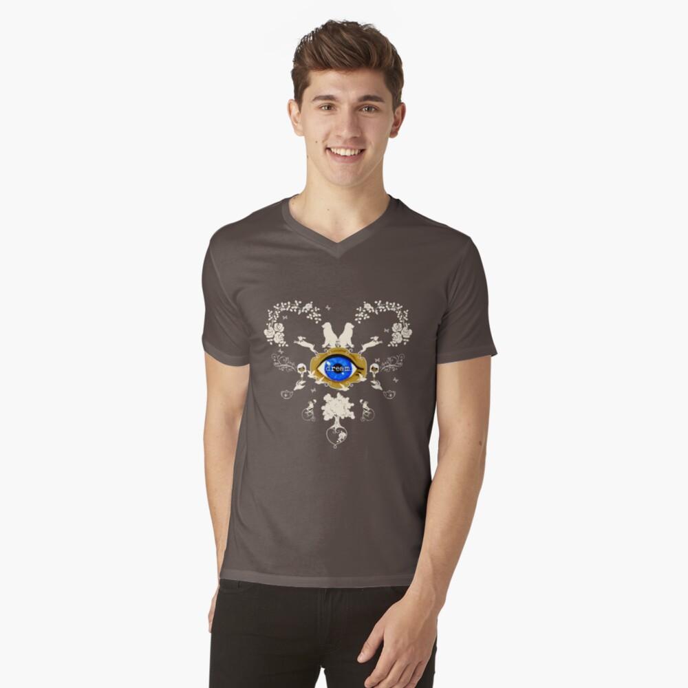 I Dream In Color - Light Silhouettes on Dark Brown V-Neck T-Shirt