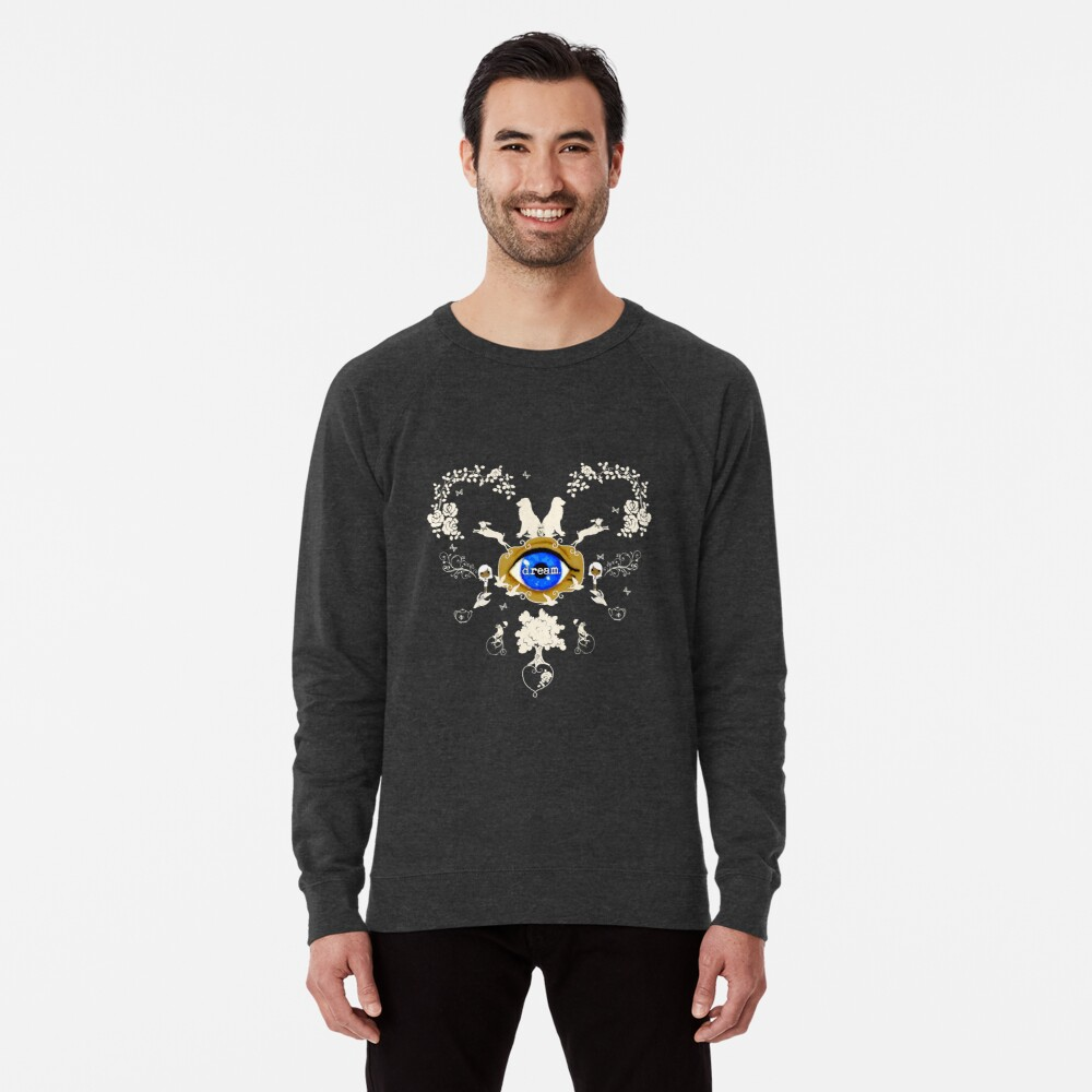 I Dream In Color - Light Silhouettes on Dark Brown Lightweight Sweatshirt