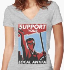 Support Your Local Antifa Women's Fitted V-Neck T-Shirt