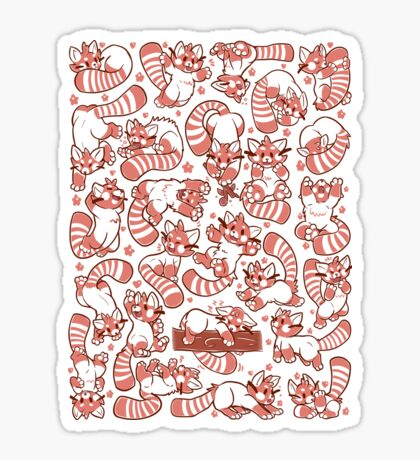 Red Panda all over pattern spread Sticker