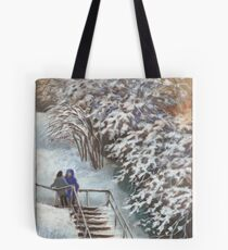 On the stairs Tote Bag