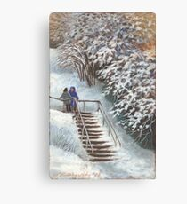On the stairs Canvas Print