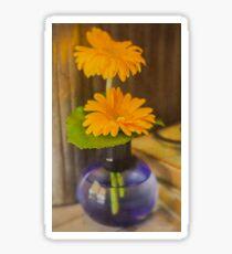 Orange Flowers Blue Vase Sticker