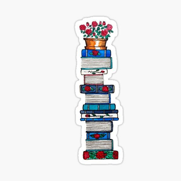 Rosebush & Books Sticker