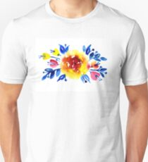 Feminine bouquet of yellow roses and blue leaves T-Shirt